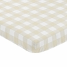 Beige and White Buffalo Plaid Check Baby Fitted Mini Portable Crib Sheet for Woodland Camo Collection by Sweet Jojo Designs