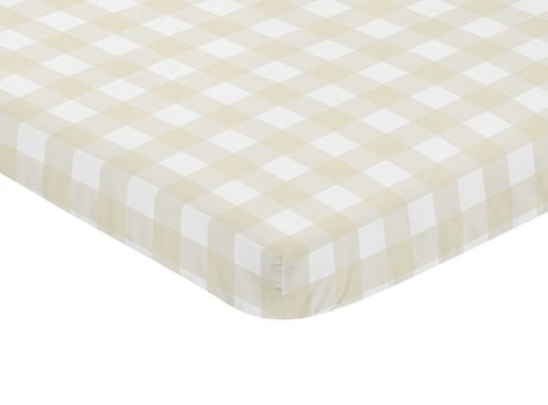 Beige and White Buffalo Plaid Check Baby Fitted Mini Portable Crib Sheet for Woodland Camo Collection by Sweet Jojo Designs - Click to enlarge