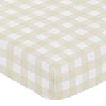 Beige and White Buffalo Plaid Check Baby or Toddler Fitted Crib Sheet for Woodland Camo Collection by Sweet Jojo Designs