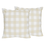 Beige and White Buffalo Plaid Check Decorative Accent Throw Pillows for Woodland Camo Collection by Sweet Jojo Designs - Set of 2