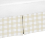 Beige and White Buffalo Plaid Check Pleated Queen Bed Skirt Dust Ruffle for Woodland Camo Collection by Sweet Jojo Designs