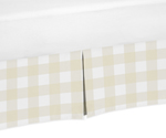 Beige and White Buffalo Plaid Check Pleated Toddler Bed Skirt Dust Ruffle for Woodland Camo Collection by Sweet Jojo Designs