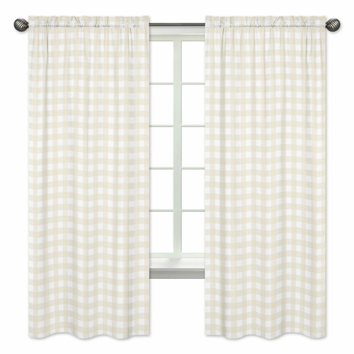 Beige and White Buffalo Plaid Check Window Treatment Panels Curtains for Woodland Camo Collection by Sweet Jojo Designs - Set of 2 - Click to enlarge