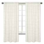 Beige and White Buffalo Plaid Check Window Treatment Panels Curtains for Woodland Camo Collection by Sweet Jojo Designs - Set of 2