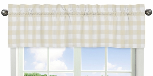 Beige and White Buffalo Plaid Check Window Treatment Valance for Woodland Camo Collection by Sweet Jojo Designs - Click to enlarge