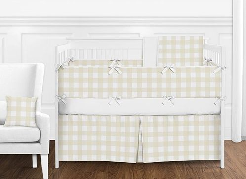 Beige and White Rustic Country Buffalo Plaid Check Baby Boy or Girl Gender Neutral Nursery Crib Bedding Set with Bumper by Sweet Jojo Designs - 9 pieces - Click to enlarge