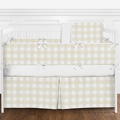 Beige and White Rustic Country Buffalo Plaid Check Baby Boy or Girl Gender Neutral Nursery Crib Bedding Set with Bumper by Sweet Jojo Designs - 9 pieces