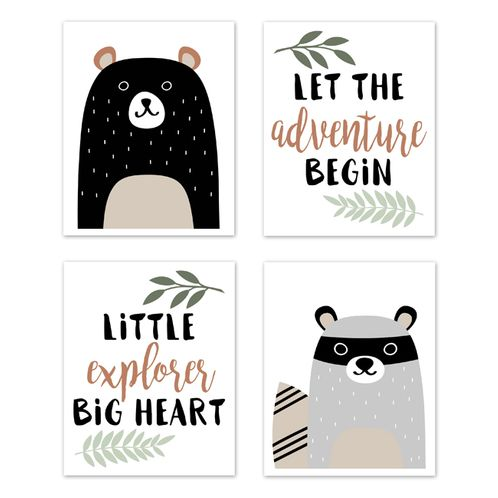 Beige, Green, Black and Grey Bear Racoon Forest Animal Wall Art Prints Room Decor for Baby, Nursery, and Kids for Woodland Pals Collection by Sweet Jojo Designs - Set of 4 - Adventure Explorer - Click to enlarge