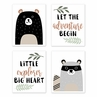Beige, Green, Black and Grey Bear Racoon Forest Animal Wall Art Prints Room Decor for Baby, Nursery, and Kids for Woodland Pals Collection by Sweet Jojo Designs - Set of 4 - Adventure Explorer