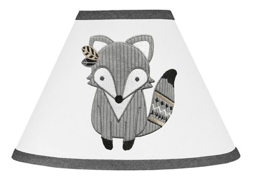 Beige, Grey and White Boho Animal Fox Lamp Shade for Gray Woodland Forest Friends Collection by Sweet Jojo Designs - Click to enlarge