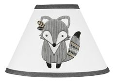 Beige, Grey and White Boho Animal Fox Lamp Shade for Gray Woodland Forest Friends Collection by Sweet Jojo Designs