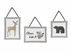 Beige, Grey and White Boho Animal Wall Hanging Decor for Gray Woodland Forest Friends Collection by Sweet Jojo Designs - Set of 3 - Deer Fox Bear
