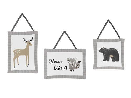 Beige, Grey and White Boho Animal Wall Hanging Decor for Gray Woodland Forest Friends Collection by Sweet Jojo Designs - Set of 3 - Deer Fox Bear - Click to enlarge