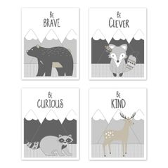 Beige, Grey and White Boho Mountain Animal Deer Fox Bear Wall Art Prints Room Decor for Baby, Nursery, and Kids for Gray Woodland Forest Friends Collection by Sweet Jojo Designs - Set of 4 - Brave, Clever, Curious, Kind