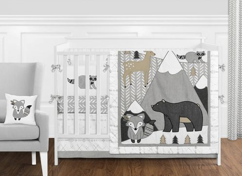 Beige, Grey and White Boho Mountain Animal Gray Woodland Forest Friends Baby Unisex Boy or Girl Nursery Crib Bedding Set with Bumper by Sweet Jojo Designs - 9 pieces -  Deer Fox Bear - Click to enlarge