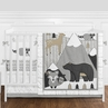 Beige, Grey and White Boho Mountain Animal Gray Woodland Forest Friends Baby Unisex Boy or Girl Nursery Crib Bedding Set with Bumper by Sweet Jojo Designs - 9 pieces -  Deer Fox Bear