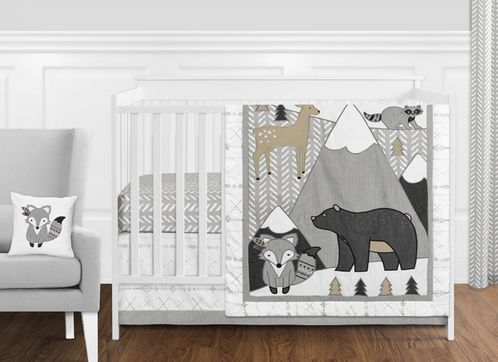 Beige, Grey and White Boho Mountain Animal Gray Woodland Forest Friends Baby Unisex Boy or Girl Nursery Crib Bedding Set without Bumper by Sweet Jojo Designs - 11 pieces -  Deer Fox Bear - Click to enlarge