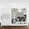 Beige, Grey and White Boho Mountain Animal Gray Woodland Forest Friends Baby Unisex Boy or Girl Nursery Crib Bedding Set without Bumper by Sweet Jojo Designs - 4 pieces -  Deer Fox Bear