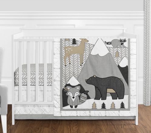 Beige, Grey and White Boho Mountain Animal Gray Woodland Forest Friends Baby Unisex Boy or Girl Nursery Crib Bedding Set without Bumper by Sweet Jojo Designs - 4 pieces -  Deer Fox Bear - Click to enlarge