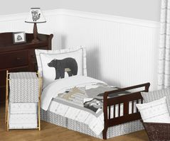 Beige, Grey and White Boho Mountain Animal Gray Woodland Forest Friends Unisex Boy or Girl Toddler Kid Childrens Comforter Bedding Set by Sweet Jojo Designs - 5 pieces Comforter, Sham and Sheets -  Deer Fox Bear