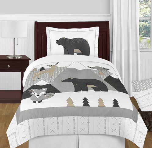 Beige, Grey and White Boho Mountain Animal Gray Woodland Forest Friends Unisex Boy or Girl Twin Size Kid Childrens Bedding Comforter Set by Sweet Jojo Designs - 4 pieces -  Deer Fox Bear - Click to enlarge