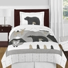 Beige, Grey and White Boho Mountain Animal Gray Woodland Forest Friends Unisex Boy or Girl Twin Size Kid Childrens Bedding Comforter Set by Sweet Jojo Designs - 4 pieces -  Deer Fox Bear