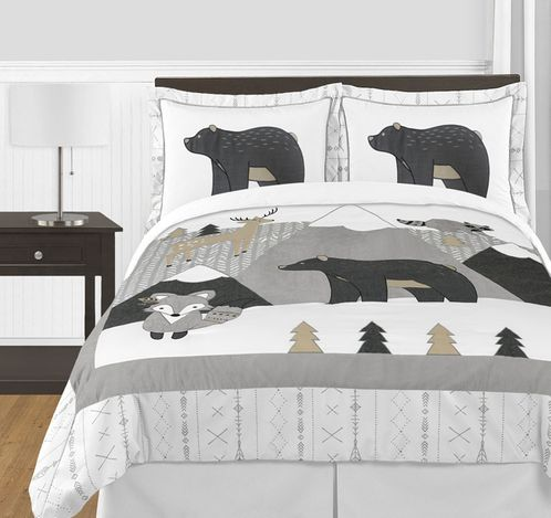 Beige, Grey and White Boho Mountain Animal Unisex Boy or Girl Full / Queen Size Kid Childrens Bedding Comforter Set for Gray Woodland Forest Friends Collection by Sweet Jojo Designs -  3 pieces - Deer Fox Bear - Click to enlarge