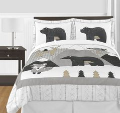 Beige, Grey and White Boho Mountain Animal Unisex Boy or Girl Full / Queen Size Kid Childrens Bedding Comforter Set for Gray Woodland Forest Friends Collection by Sweet Jojo Designs -  3 pieces - Deer Fox Bear
