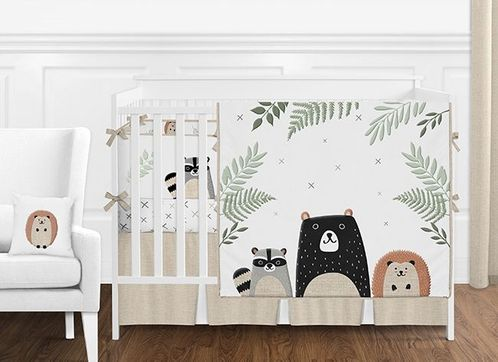Beige, Grey, Green and Black Woodland Pals Bear Baby Boy or Girl Gender Neutral Nursery Crib Bedding Set with Bumper by Sweet Jojo Designs - 9 pieces - Click to enlarge