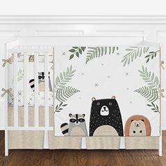 Beige, Grey, Green and Black Woodland Pals Bear Baby Boy or Girl Gender Neutral Nursery Crib Bedding Set with Bumper by Sweet Jojo Designs - 9 pieces