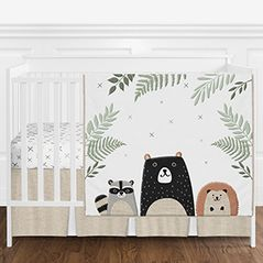 Beige, Grey, Green and Black Woodland Pals Bear Baby Boy or Girl Gender Neutral Nursery Crib Bedding Set without Bumper by Sweet Jojo Designs - 4 pieces