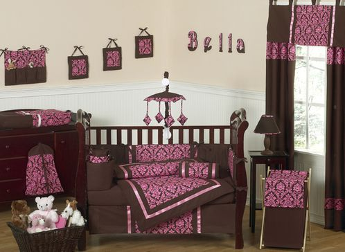 Bella Brown And Pink Baby Bedding 9