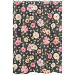 Black and Blush Pink Bathroom Fabric Bath Shower Curtain for Watercolor Floral Collection by Sweet Jojo Designs - Rose Flower