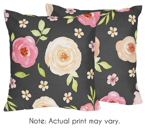 Black and Blush Pink Decorative Accent Throw Pillows for Watercolor Floral Collection by Sweet Jojo Designs - Set of 2 - Rose Flower - Click to enlarge