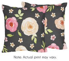 Black and Blush Pink Decorative Accent Throw Pillows for Watercolor Floral Collection by Sweet Jojo Designs - Set of 2 - Rose Flower