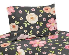 Black and Blush Pink Queen Sheet Set for Watercolor Floral Collection by Sweet Jojo Designs - 4 piece set - Rose Flower