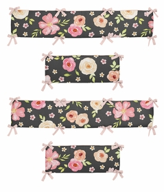Black and Blush Pink Shabby Chic Baby Crib Bumper Pad for Watercolor Floral Collection by Sweet Jojo Designs - Rose Flower