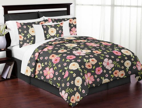 Black and Blush Pink Shabby Chic Watercolor Floral Girl Full / Queen Kids Teen Bedding Comforter Set by Sweet Jojo Designs - 3 pieces - Rose Flower - Click to enlarge