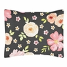 Black and Blush Pink Standard Pillow Sham for Watercolor Floral Collection by Sweet Jojo Designs - Rose Flower