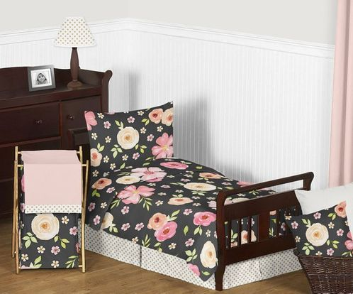 Black, Blush Pink and Gold Shabby Chic Watercolor Floral Girl Toddler Bedding Set for Children Kids by Sweet Jojo Designs - 5 pieces Comforter, Sham and Sheets - Rose Flower Polka Dot - Click to enlarge