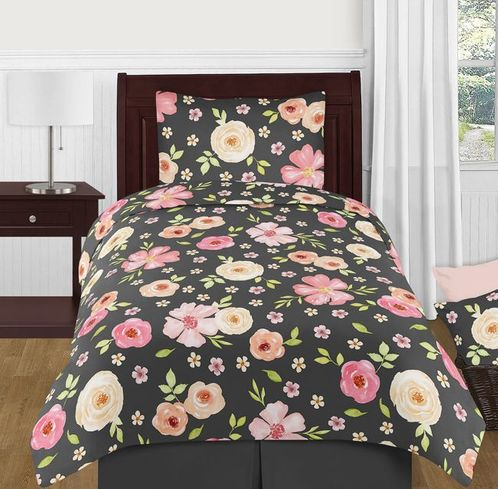 Black and Blush Pink Shabby Chic Watercolor Floral Girl Twin Kids Childrens Bedding Comforter Set by Sweet Jojo Designs - 4 pieces - Rose Flower - Click to enlarge