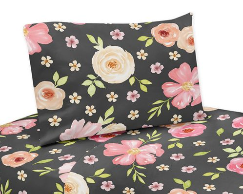 Black and Blush Pink Twin Sheet Set for Watercolor Floral Collection by Sweet Jojo Designs - 3 piece set - Rose Flower - Click to enlarge