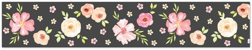 Black and Blush Pink Wallpaper Wall Border for Watercolor Floral Collection by Sweet Jojo Designs - Rose Flower - Click to enlarge