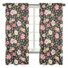 Black and Blush Pink Window Treatment Panels Curtains for Watercolor Floral Collection by Sweet Jojo Designs - Set of 2 - Rose Flower