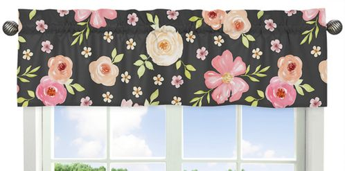 Black and Blush Pink Window Treatment Valance for Watercolor Floral Collection by Sweet Jojo Designs - Rose Flower - Click to enlarge