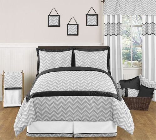 Black and Gray Chevron Zig Zag Childrens, Kids, Teen Bedding - 3pc Full / Queen Set by Sweet Jojo Designs - Click to enlarge