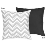 Black and Gray Chevron Zig Zag Decorative Accent Throw Pillow by Sweet Jojo Designs