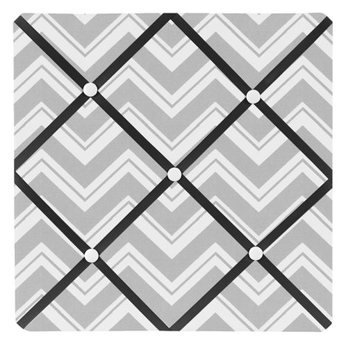 Black and Gray Chevron Zig Zag Fabric Memory/Memo Photo Bulletin Board by Sweet Jojo Designs - Click to enlarge