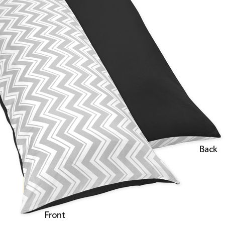 Black and Gray Chevron Zig Zag Full Length Double Zippered Body Pillow Case Cover by Sweet Jojo Designs - Click to enlarge