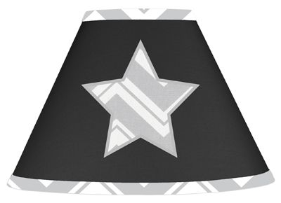 Black and Gray Chevron Zig Zag Lamp Shade by Sweet Jojo Designs - Click to enlarge